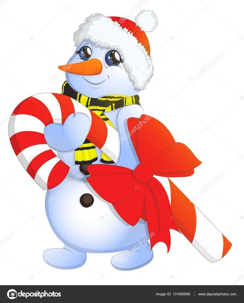 Vector de la imagen de dibujos animados de un lindo muñeco de nieve ...