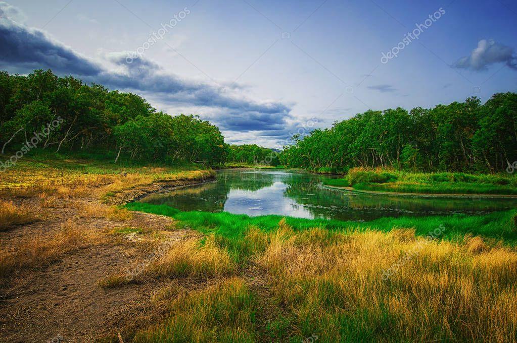 Kamchatka, Nature Park, Russia. Khodutkinskiye hot springs at the foot of volcano Priemysh