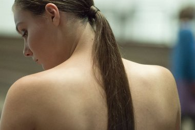 Pretty women with long hair from behind