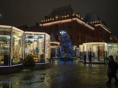 Christmas market of Moscow at night