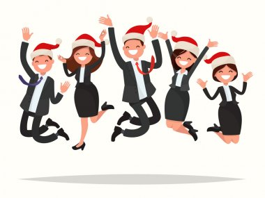 Business people in Christmas hats are  jumped. Vector illustration of a flat design clip art vector