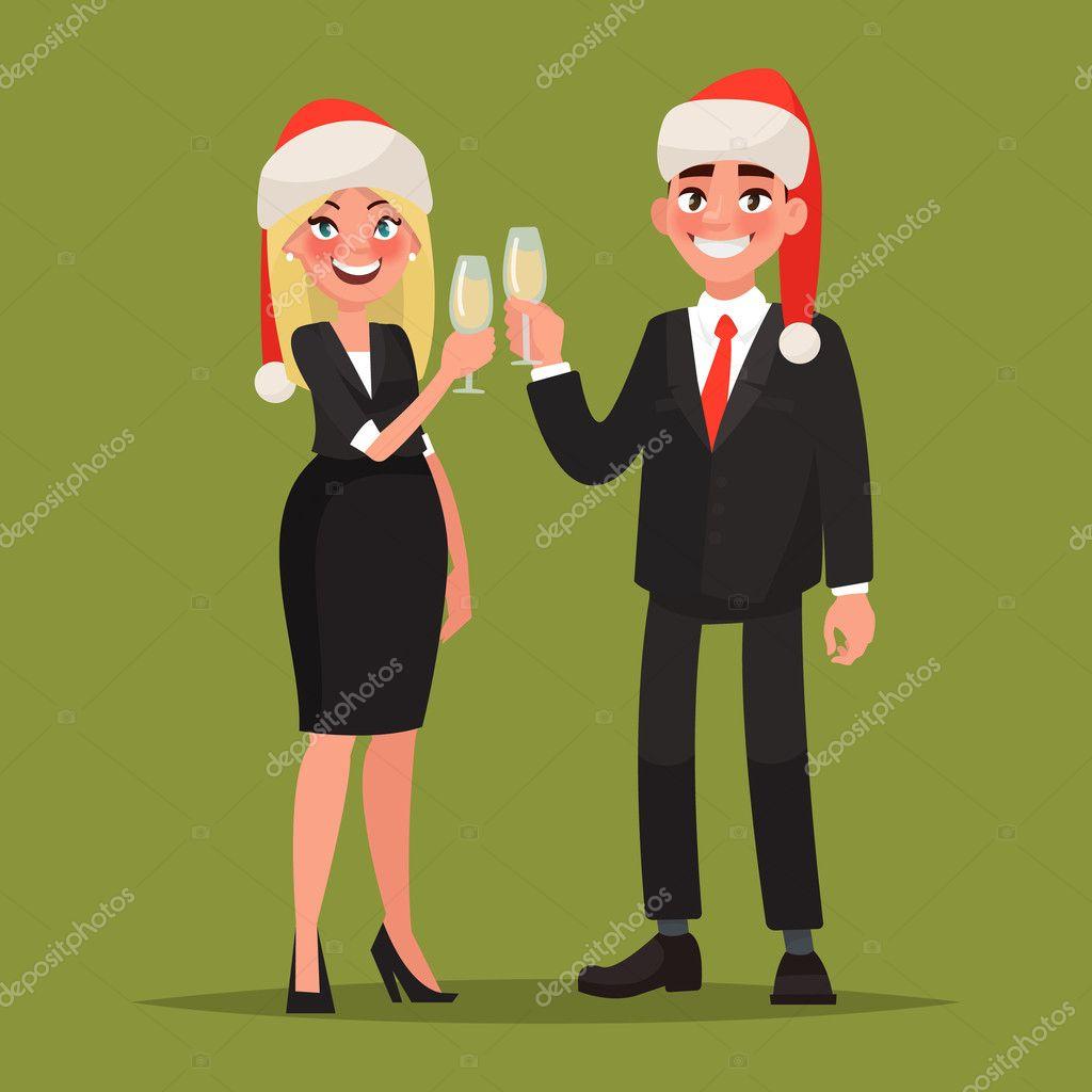 Fotos De Hombres Felicitando La Navidad.Hombres De Negocios Vestidos Con Sombreros De Navidad