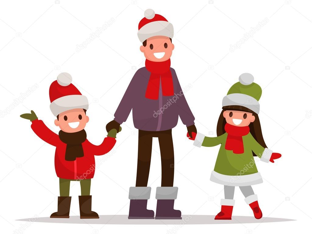 Imágenes Niños Vestidos Con Ropa De Invierno Para Colorear Papá