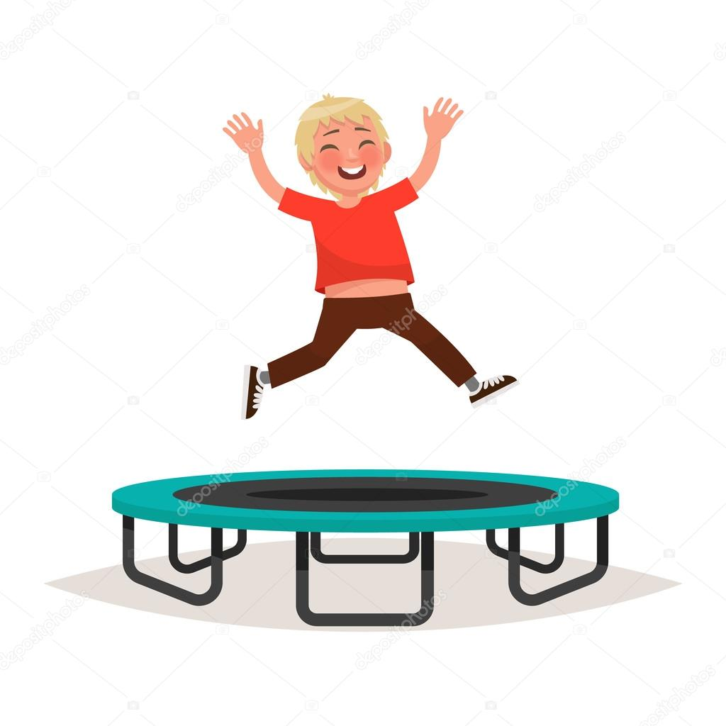 Happy Boy Jumping On A Trampoline Vector Illustration