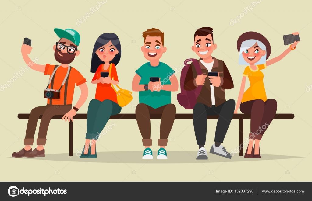 Personas Y Gadgets. Grupo De Estudiantes Sentados En Un