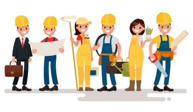 Team home builders. Engineer and foreman are discuss the building project. Painter electrician, landscaper and carpenter. Vector illustration in a flat style stock vector