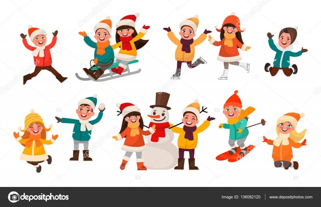 jeu d enfants qui jouent dans l hiver gar ons et filles font joyeuse image vectorielle. Black Bedroom Furniture Sets. Home Design Ideas