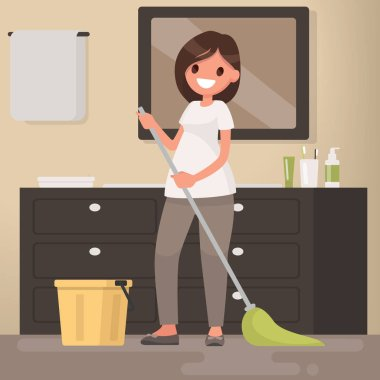 Woman housewife washes a floor mop. Vector illustration in a fla