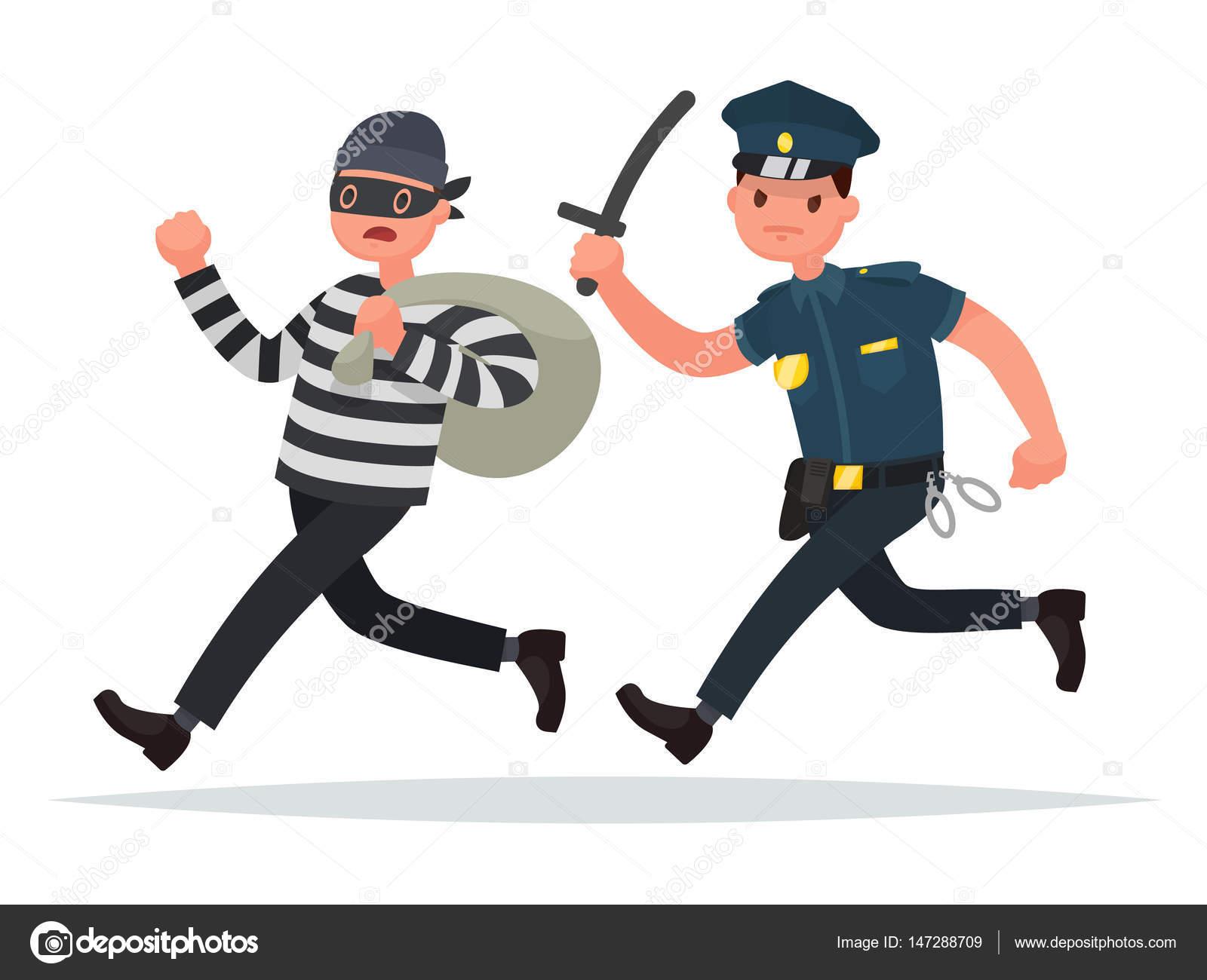 警官は泥棒を追いかけます。犯罪...