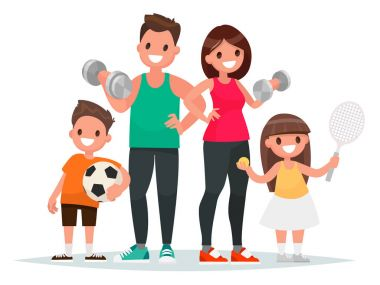 Sport family. Dad, mother, son and daughter lead a healthy lifestyle and are engaged in fitness and various sports. Vector illustration in a flat style stock vector
