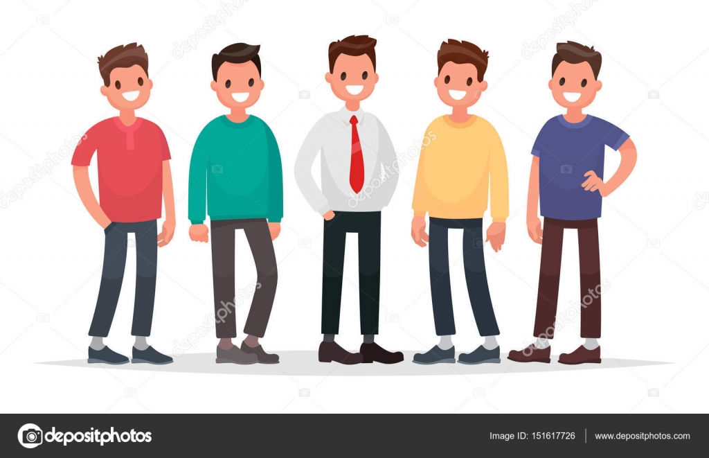 Cartoon Characters Guys : Group of guys. set of male characters on a white background. vec