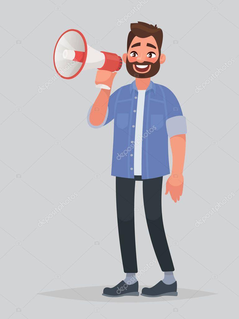 Радостный человек говорит в рупор или Мегафон. Объявление ... Мегафон Рупор