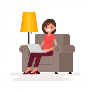 Woman with laptop sitting in chair. Work at home via the Interne