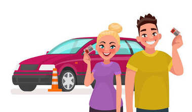 Driving school. Students with a driving license and a training car. Vector illustration
