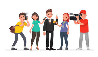 Journalists of news channels and radio stations are take interviewed. Characters videographer and photographer