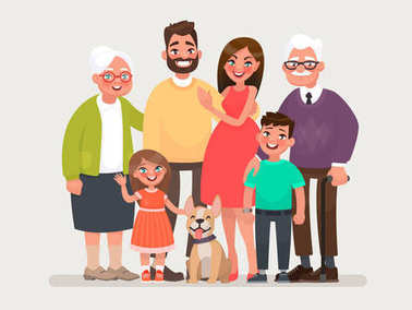 Happy family. Father, mother, grandmother, grandfather and children with a pet. Vector illustration