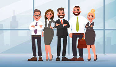 Business team in an office on a city background. Vector illustration in cartoon style