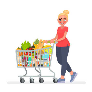 Woman is carrying a grocery cart full of groceries in the supermarket. Vector illustration