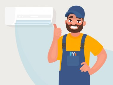 Service and repair of air conditioners. The repairman on the background of a properly functioning air conditioner. Vector illustration