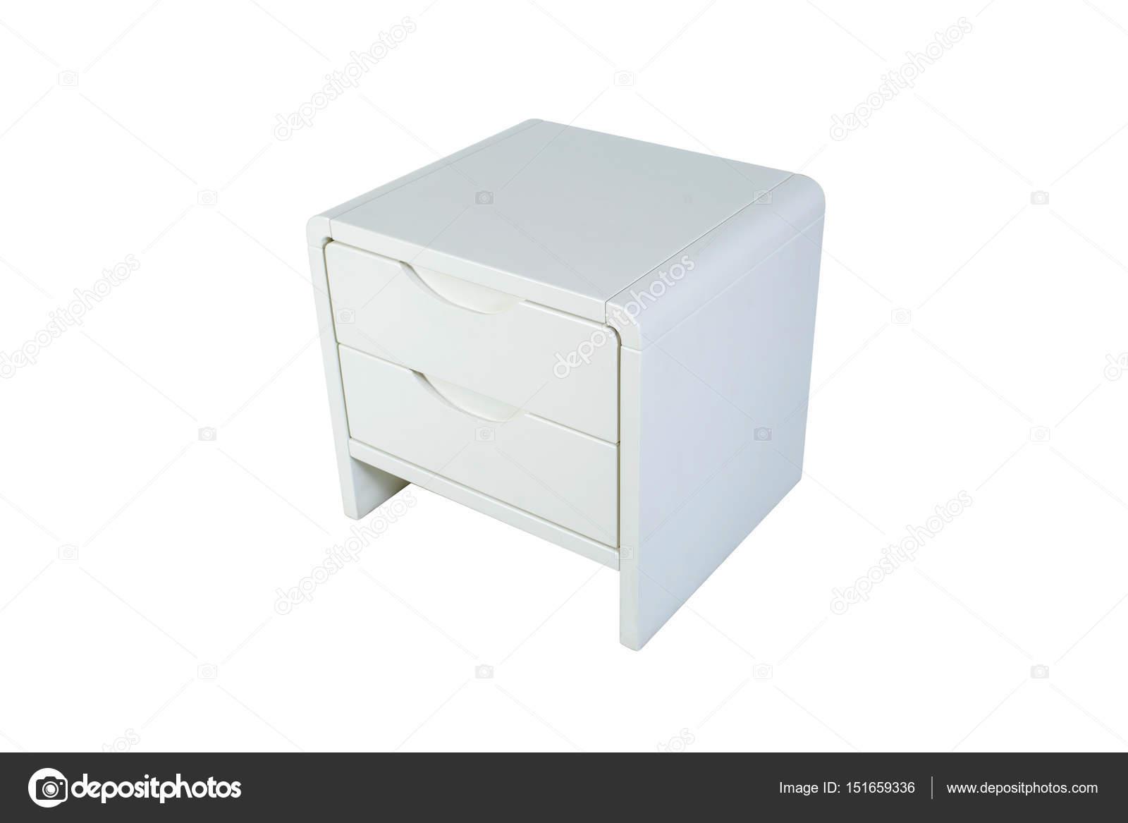 Muebles de madera aislado en blanco. Mesita de noche blanca — Foto ...