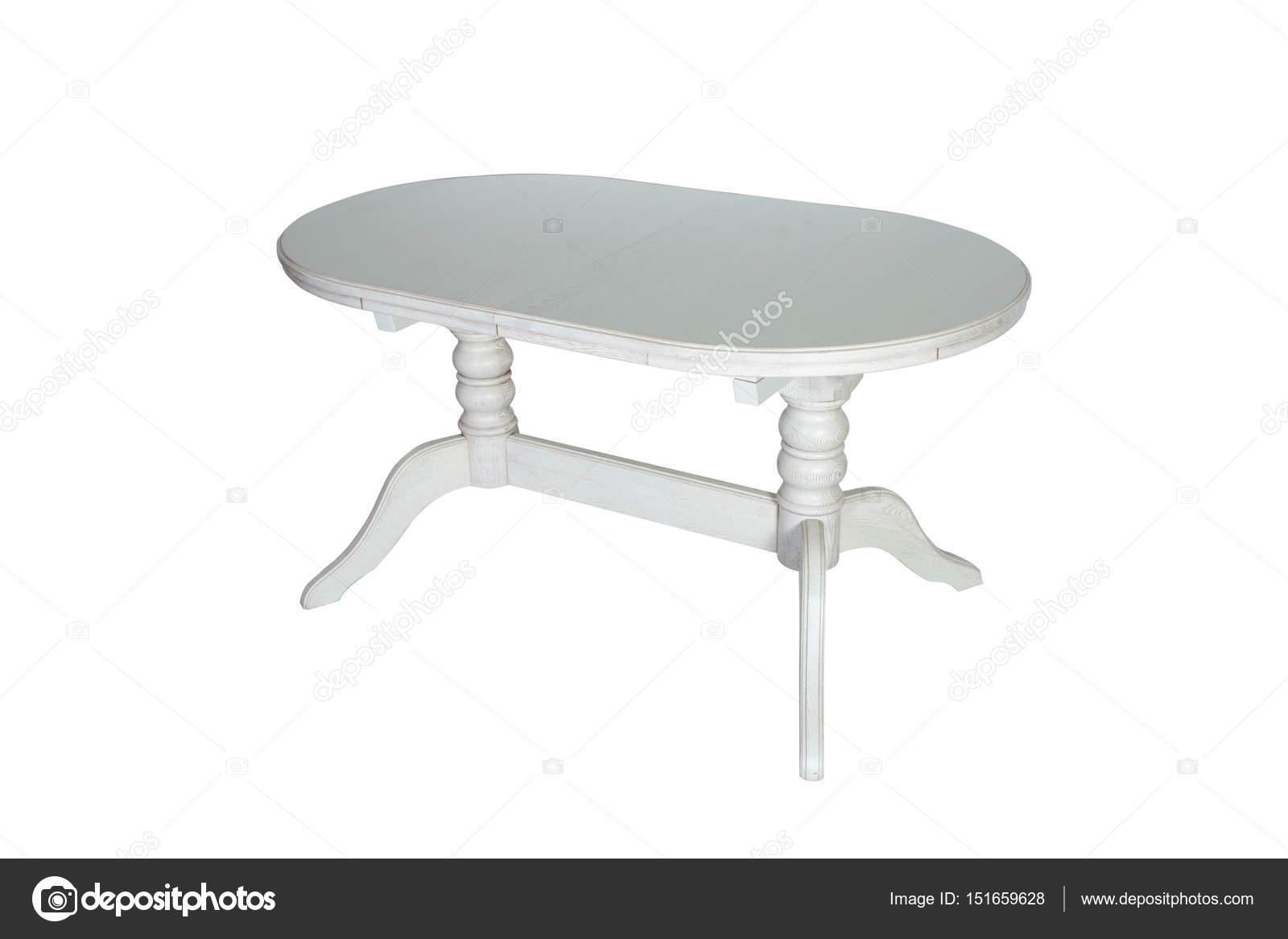 Meubilair witte ronde houten tafel geïsoleerd op witte