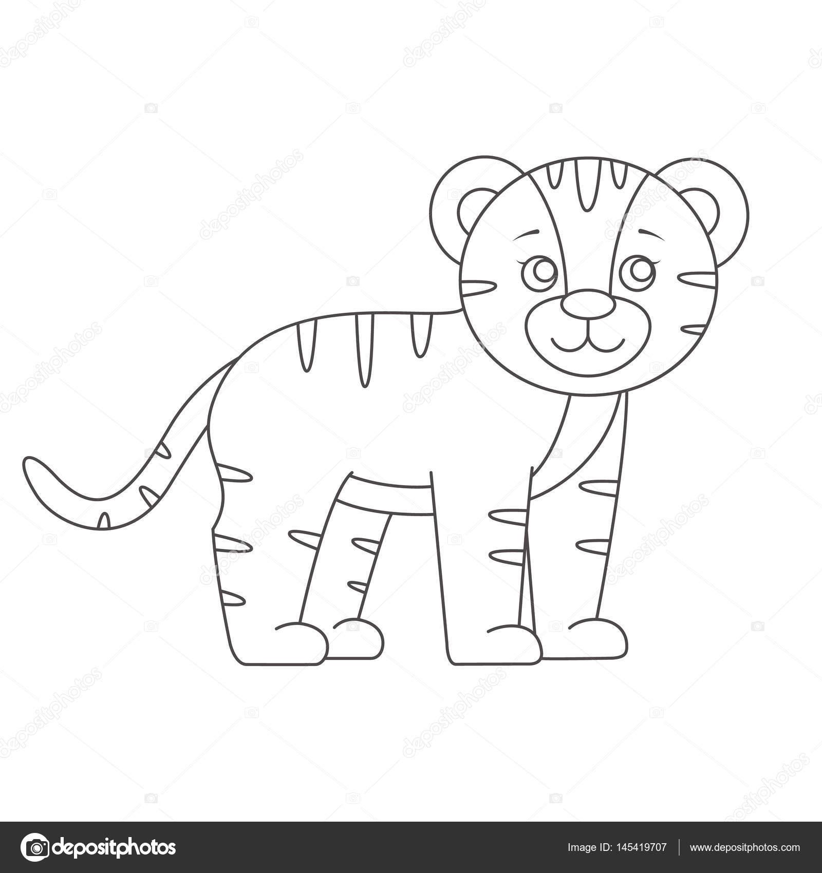 tigre para colorear libro vector de stock romalka 145419707