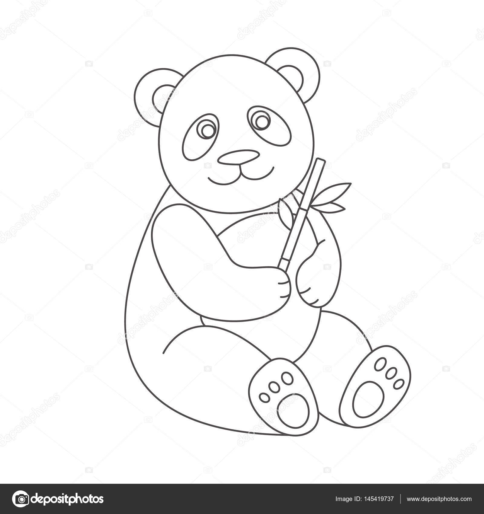Panda Boyama Kitabı Için Stok Vektör Romalka 145419737