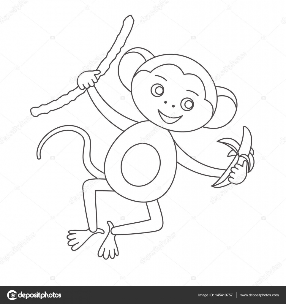 Monkey for coloring book — Stock Vector © romalka #145419757
