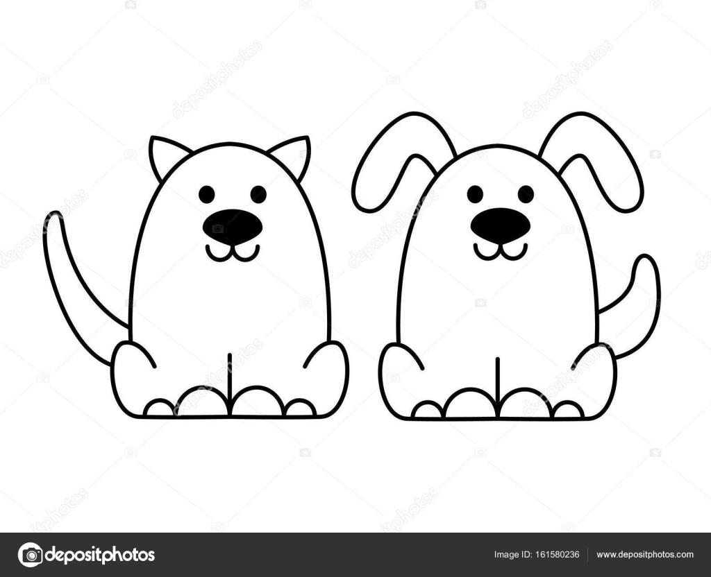 Animado Perro Facil Logo Negro De Gato Y Perro Vector De Stock