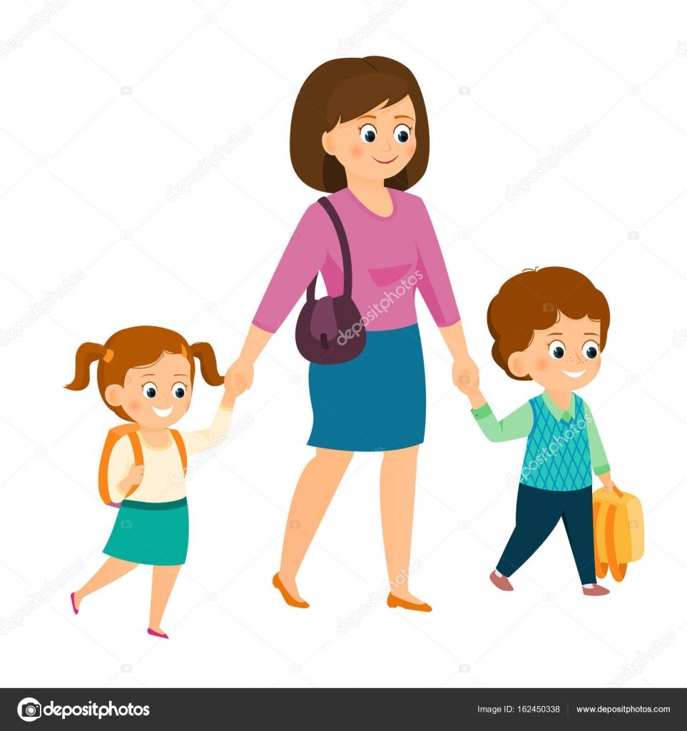 Dibujos Mamas Con Niños Madre Con Niños En Edad Escolar Vector