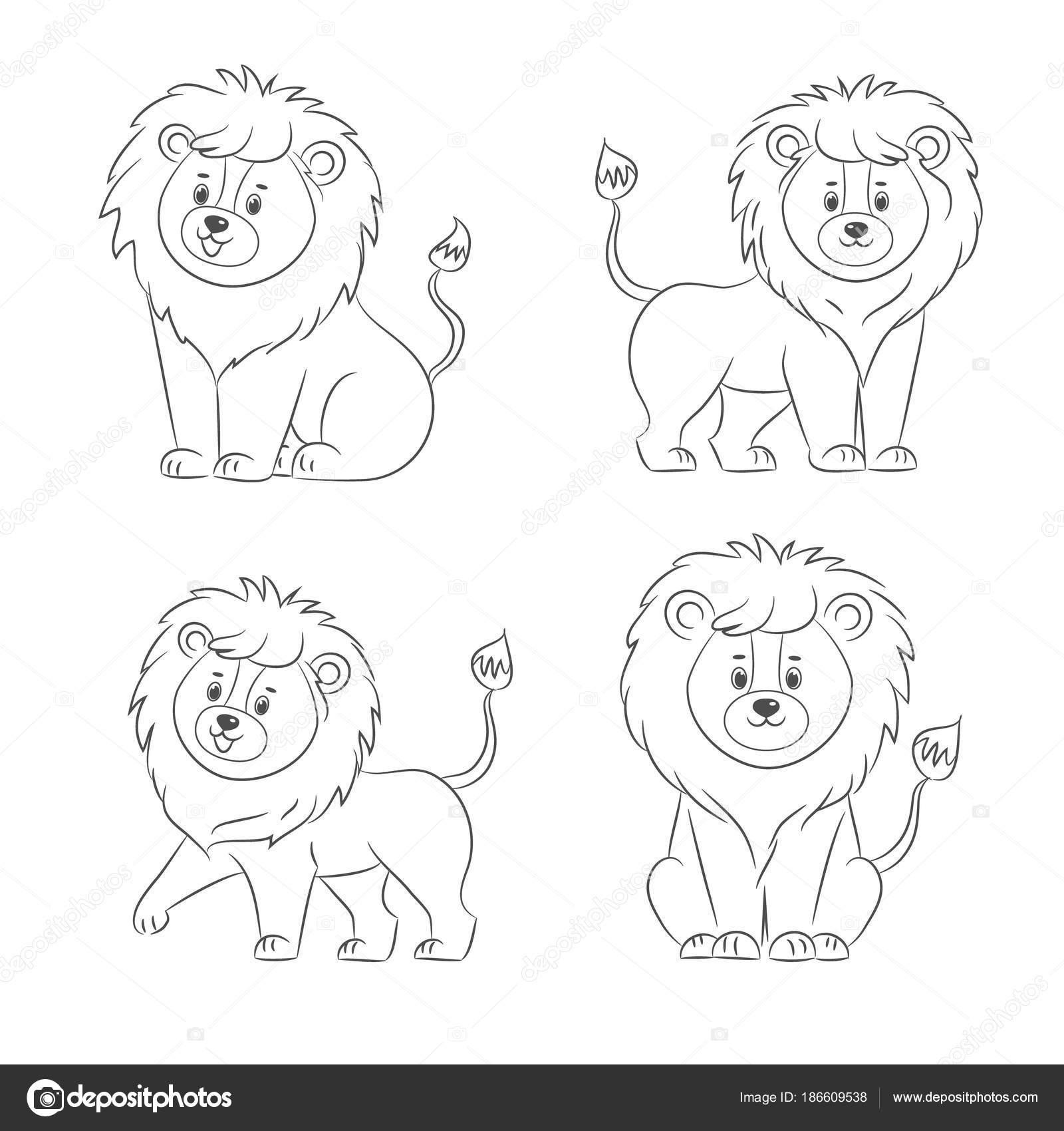 Conjunto de leones para colorear libro — Vector de stock © romalka ...