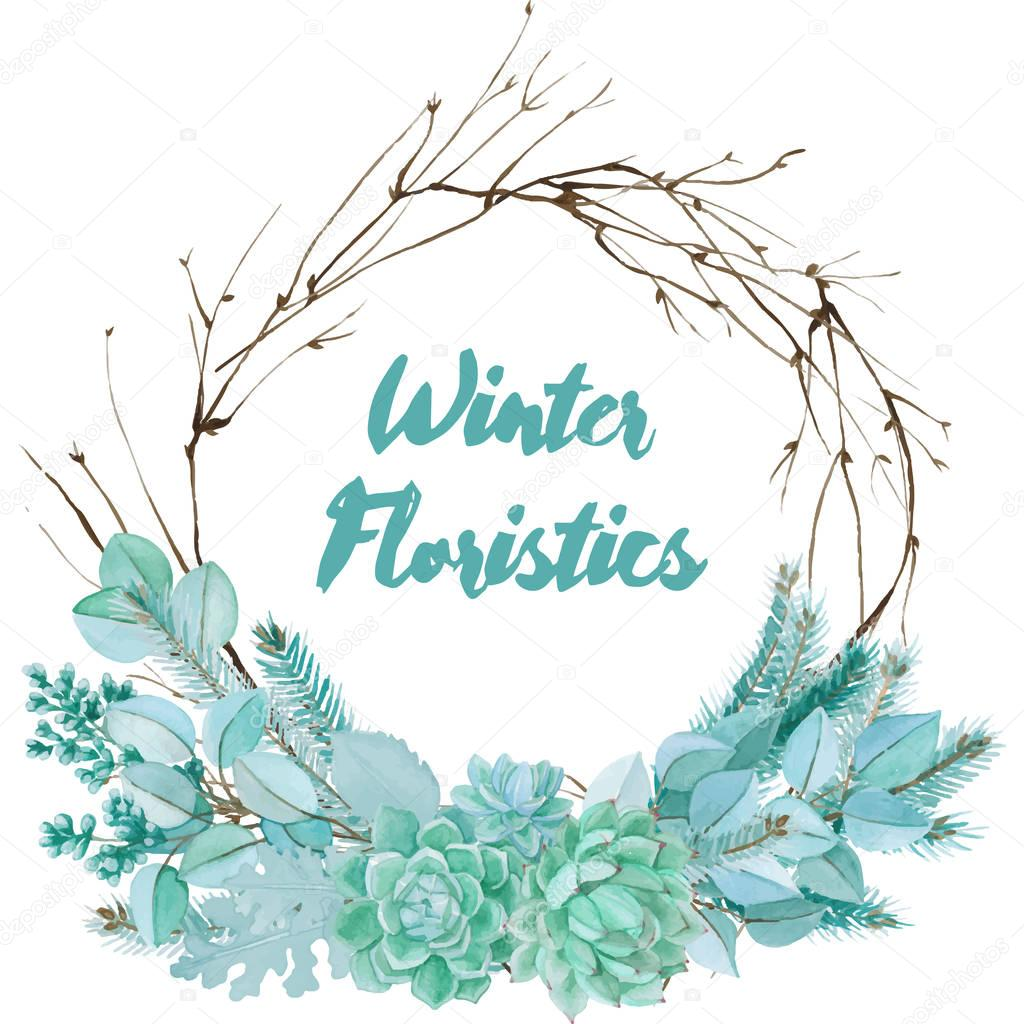 Winter Watercolor Floristic Composition