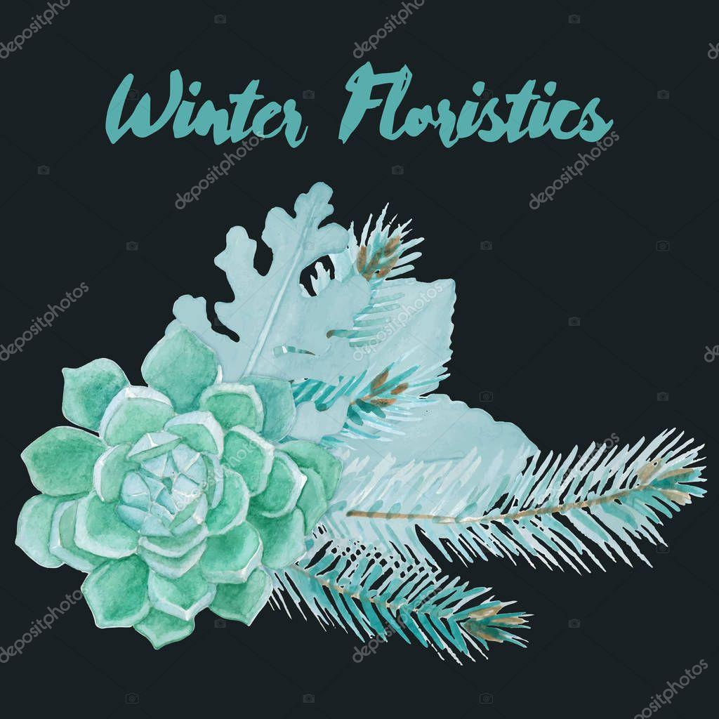Winter Watercolor Floristic Composition