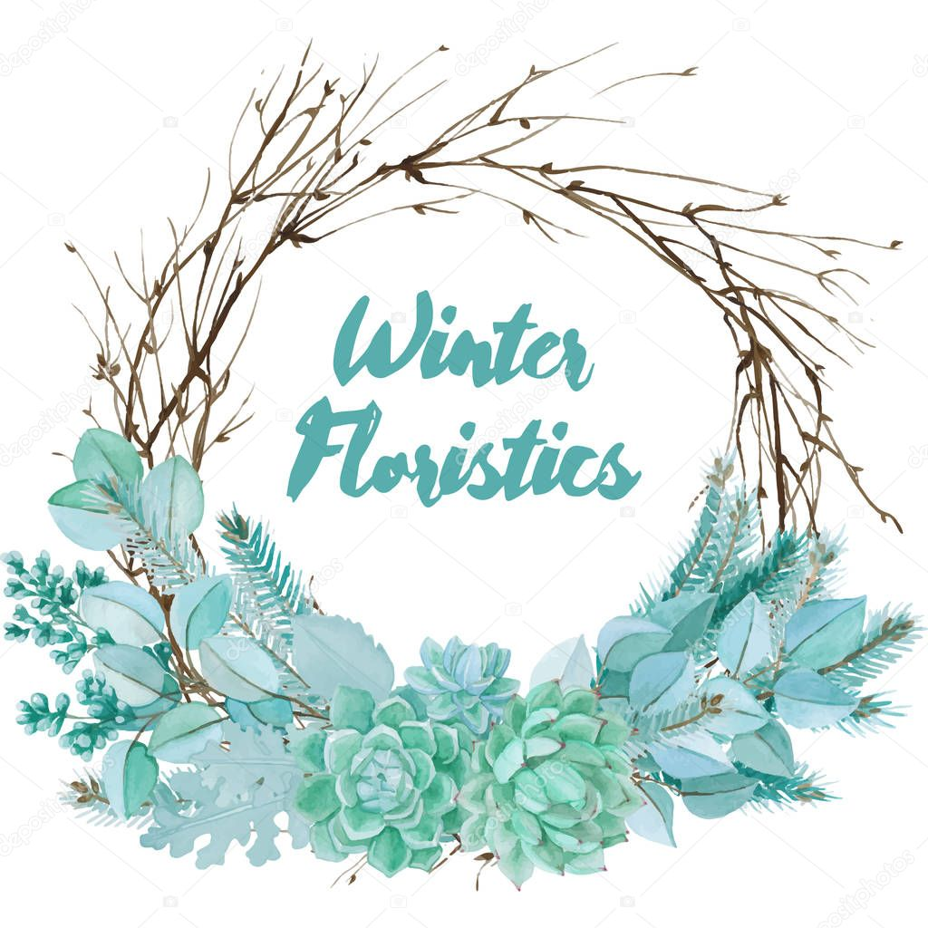 Vector Watercolor Floristic Composition