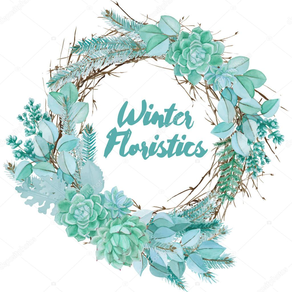 Vector Watercolor Floristic Composition