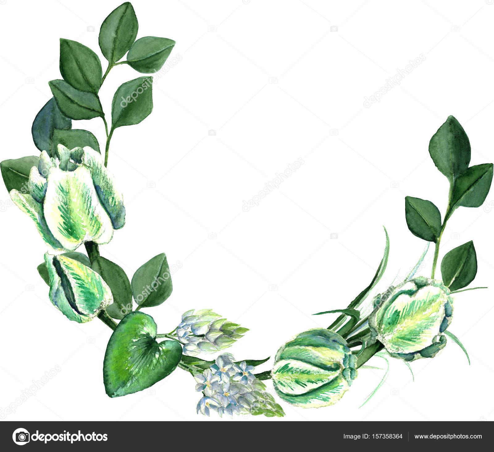 Aquarell von Hand gezeichnet weisse Tulpen Bouquet Kranz — Stockfoto ...