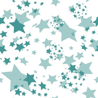 Pattern with dark blue stars. Seamless white background. Transparent stars. Vector illustration