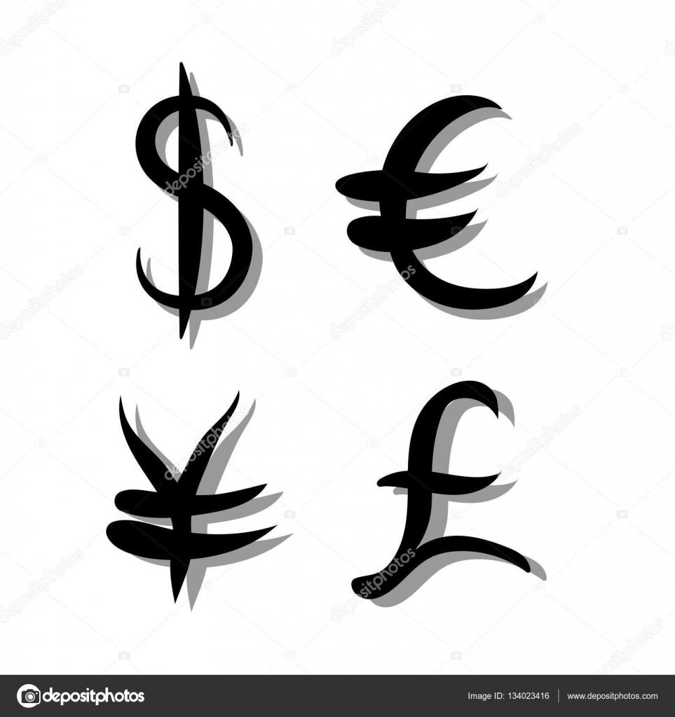 Black set of main currency signs signs of dollar and yen euro and black set of main currency signs signs of dollar and yen euro and pound buycottarizona Choice Image