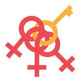 Fotografie Sexsymbol Geld festhalten. Gleichstellung von Mann und Frau verbunden Symbol. Männliche und weibliche abstrakte Symbol. Vektor-Illustration