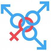 Fotografie Schwedische Familie Sexsymbol. Gleichstellung von Mann und Frau verbunden Symbol. Männliche und weibliche abstrakte Symbol. Vektor-Illustration