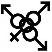 Fotografie Schwedische Familie schwarzen Sexsymbol. Gleichstellung von Mann und Frau verbunden Symbol. Männliche und weibliche abstrakte Symbol. Vektor-Illustration