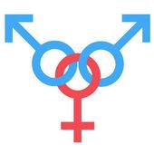 Fotografie Gangbang Sex-Symbol. Gleichstellung von Mann und Frau verbunden Symbol. Männliche und weibliche abstrakte Symbol. Vektor-Illustration