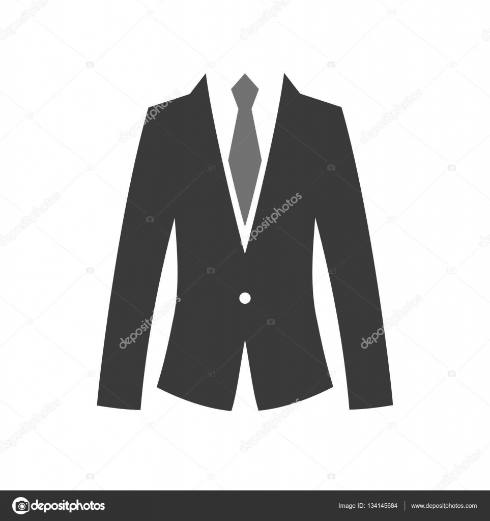 Flat suit and tie icon for web. Simple gentlemen silhouette
