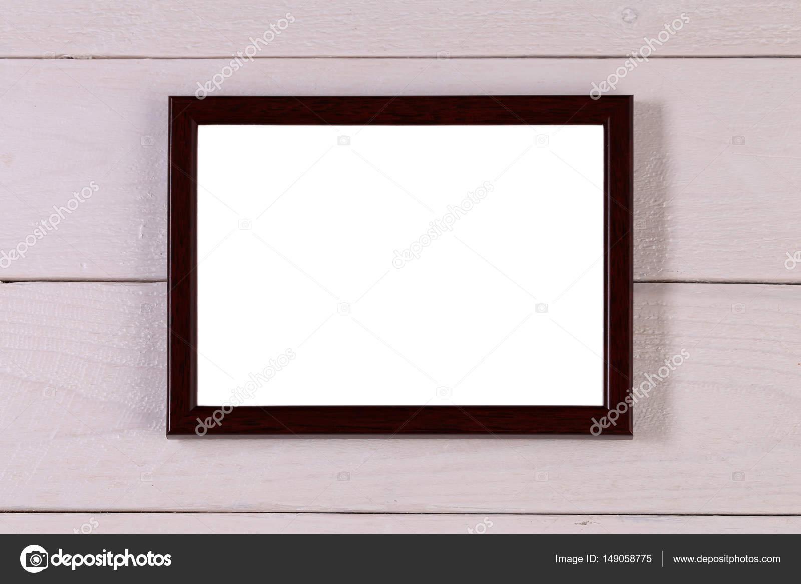 Leere braune hölzerne Fotografie Rahmen an Grunge weißen Hintergrund ...
