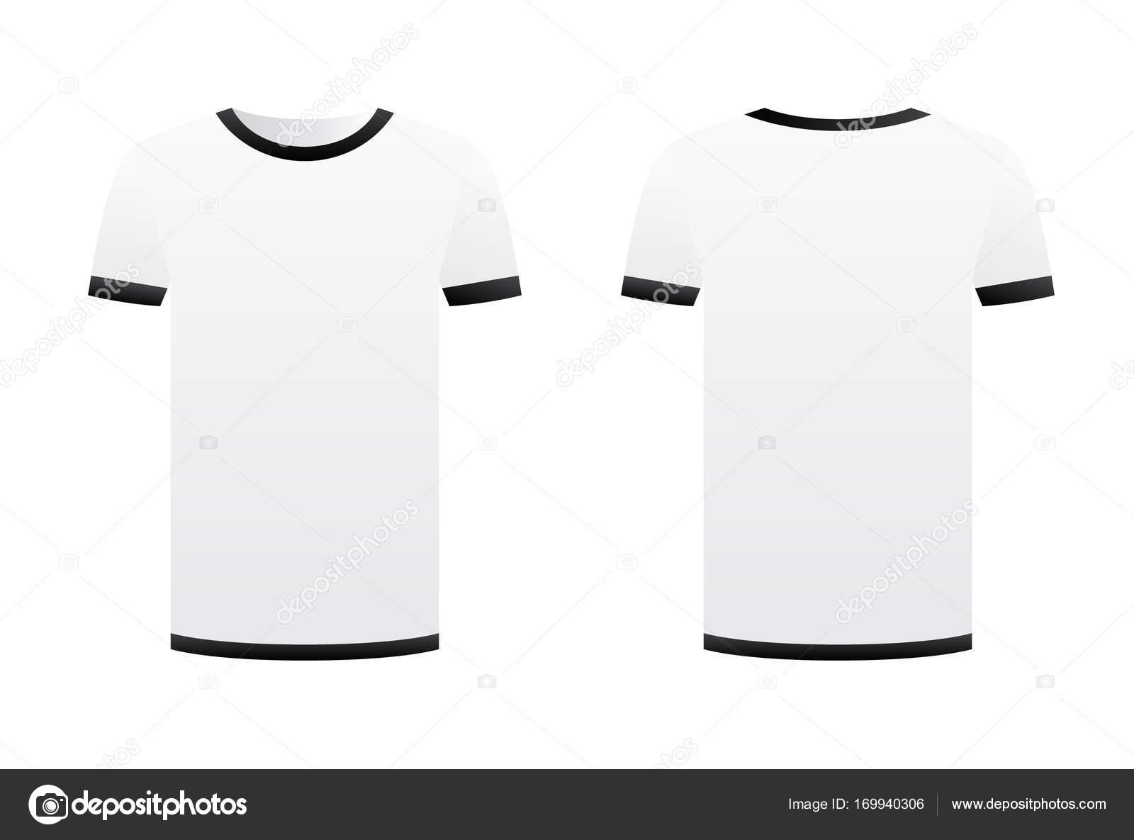 Weißes T-shirt Vorlage schwarze Bänder isoliert auf weißem ...