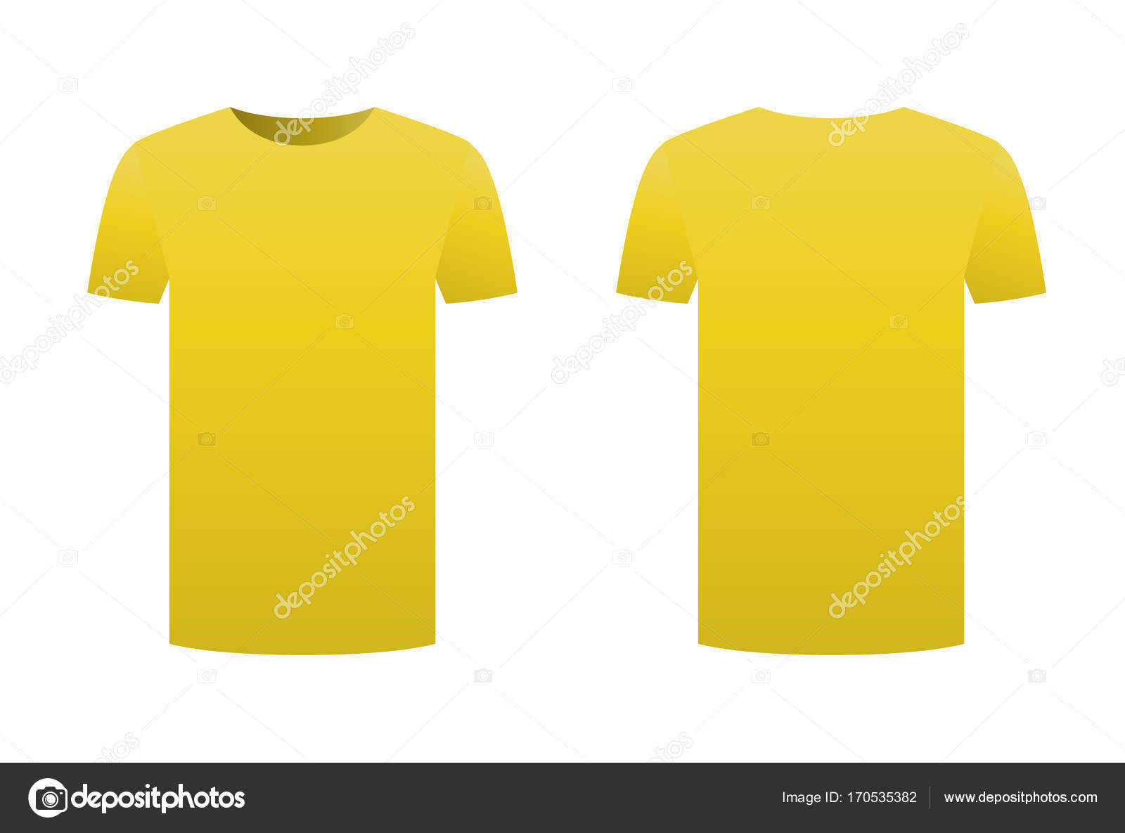 Yellow T Shirt Template Isolated On White Background Front And Back Design Short Sleeve