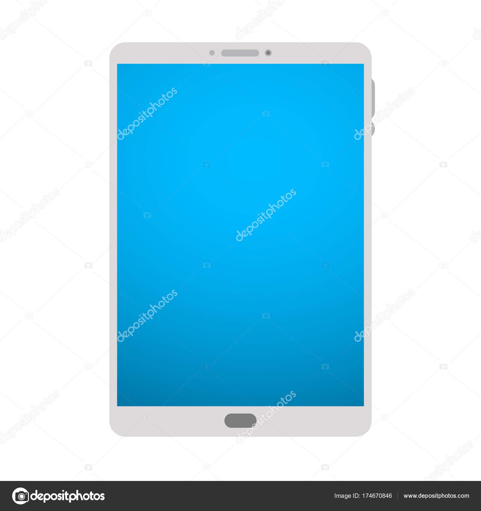 Tablet PC. Tableta de vector marco blanco Pc aislado en blanco. Mesa ...