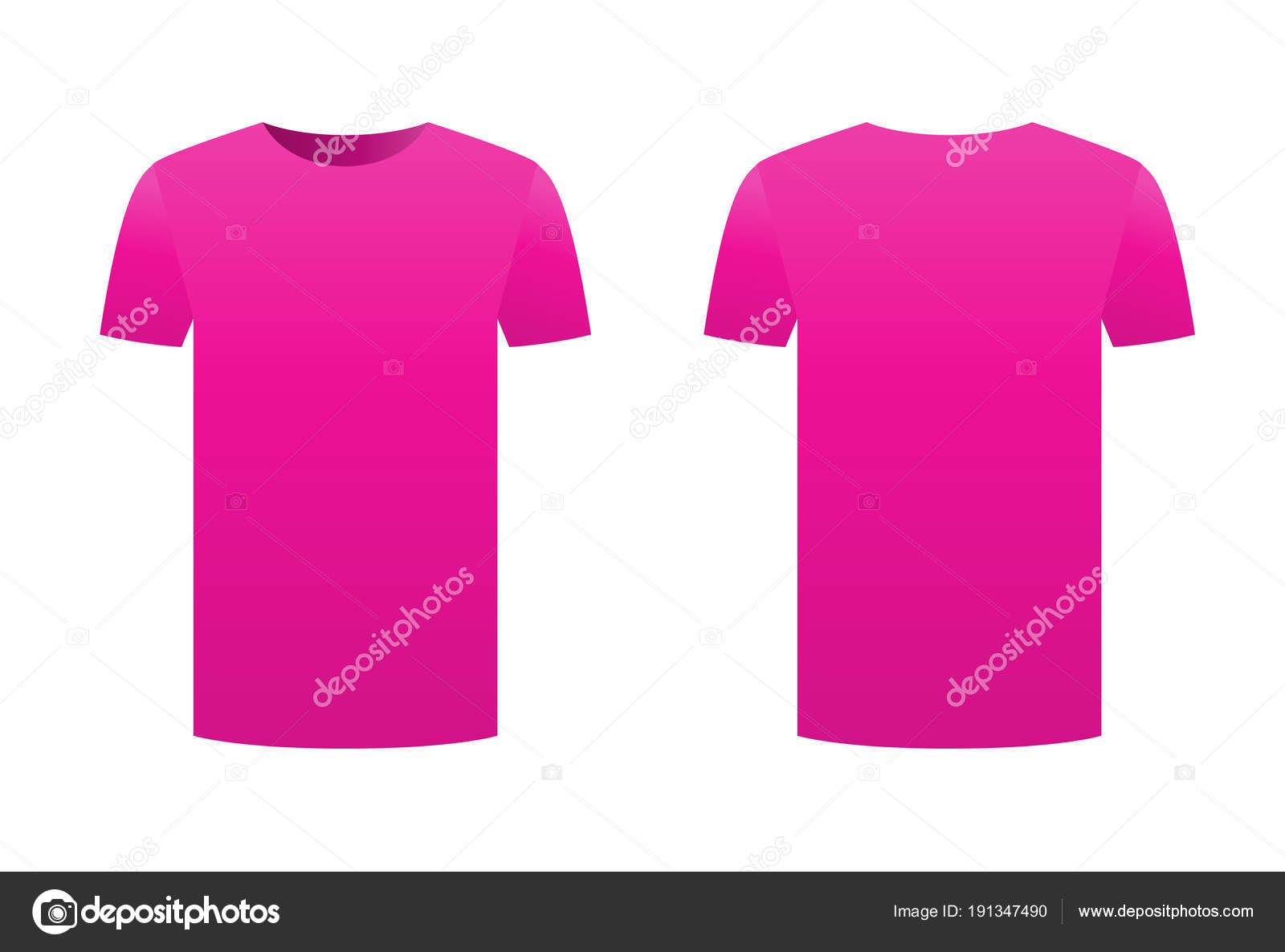 Fucsia púrpura camiseta plantilla camiseta aislado en fondo blanco ...