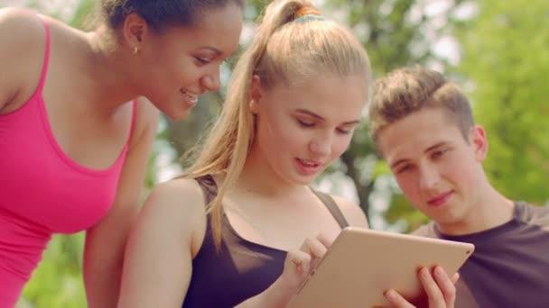Přátelé, pomocí tablet. Skupina mnohonárodnostní přátel bavit v přírodě