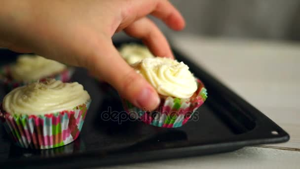 Cooking cupcakes. Hand put cup cake on baking tray. Homemade cupcakes